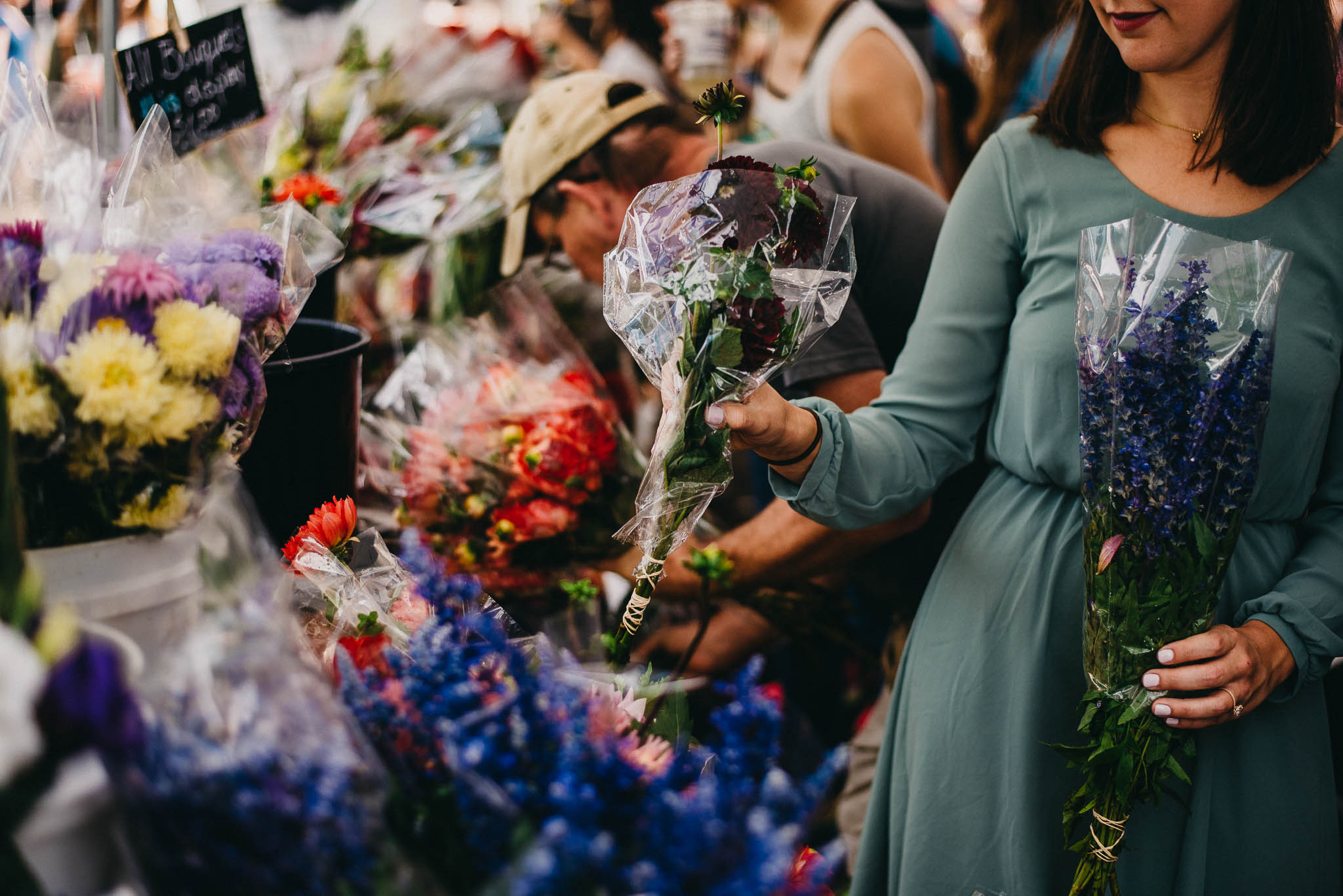 Picking out flowers at a Chicago farmers market