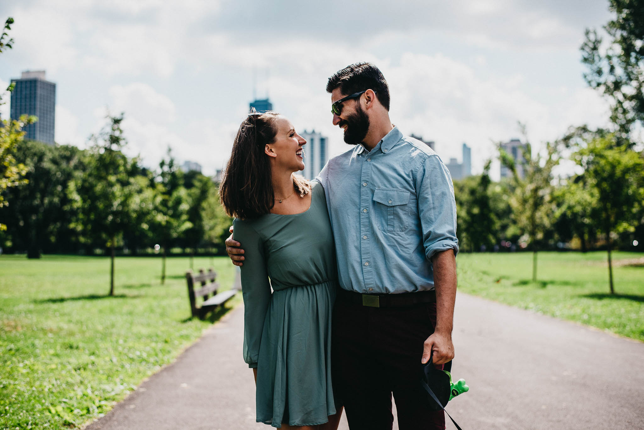 Engaged couple in a Chicago park