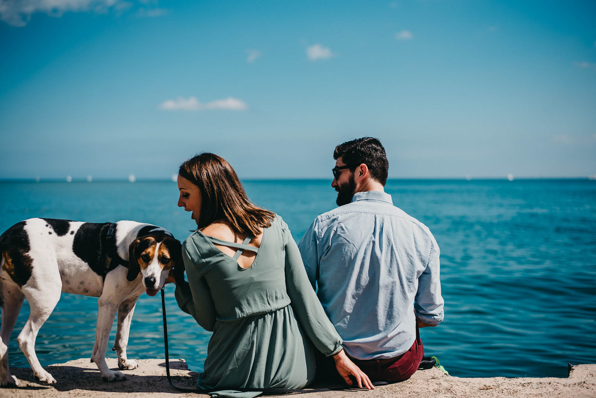 a couple staring towards Lake Michigan with their dog