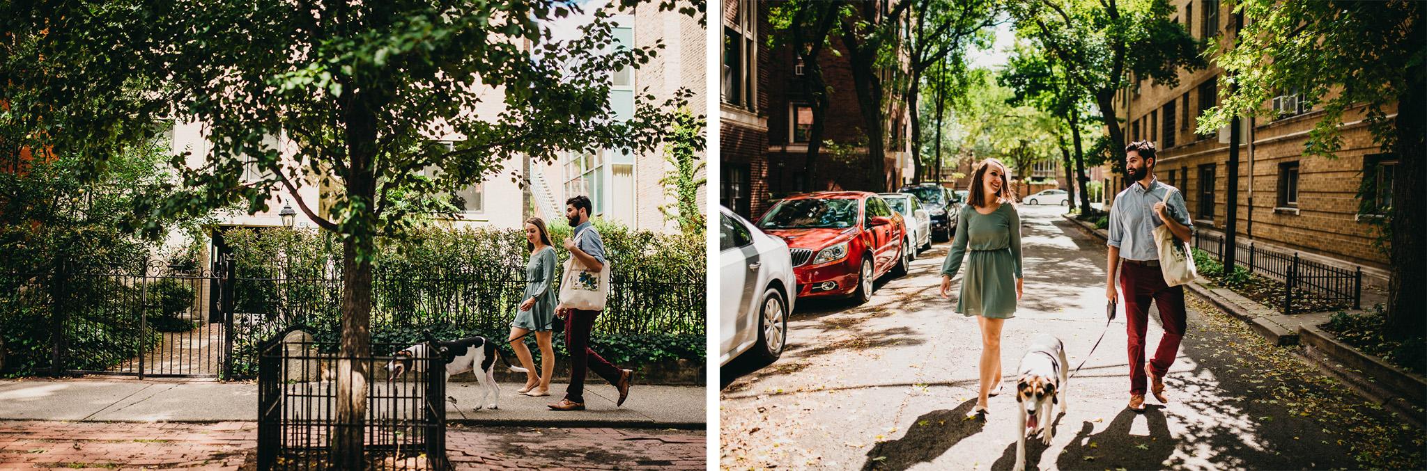 A couple walking down a Chicago sidewalk