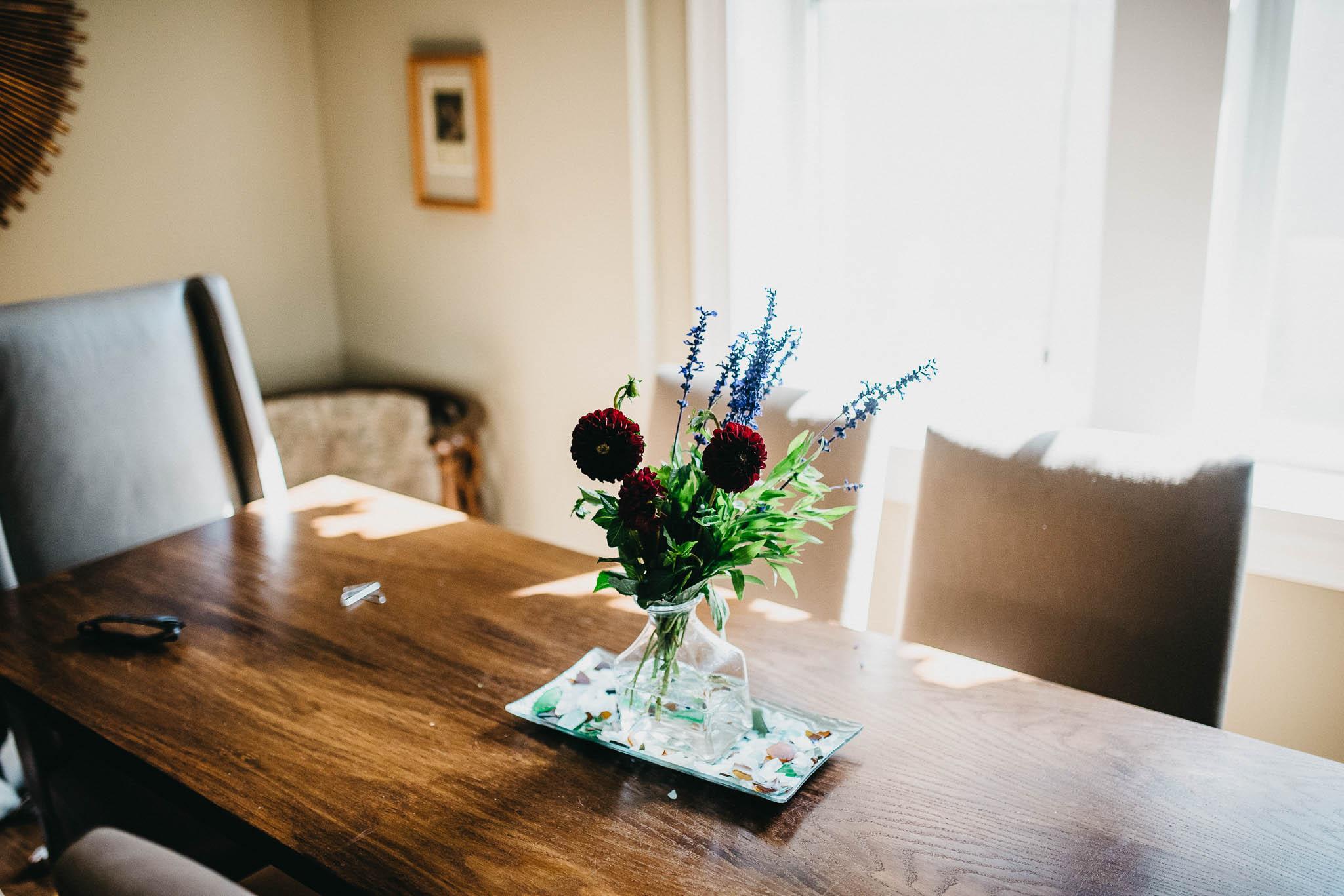 Arranged flowers on dining room table