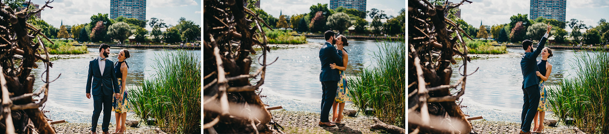 series of three photos of engaged couple kissing