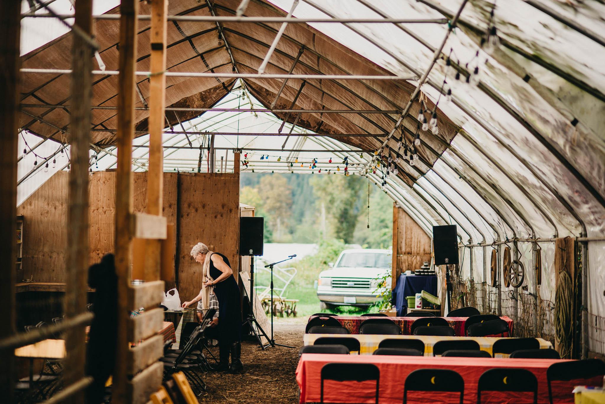 wedding reception setup on farm