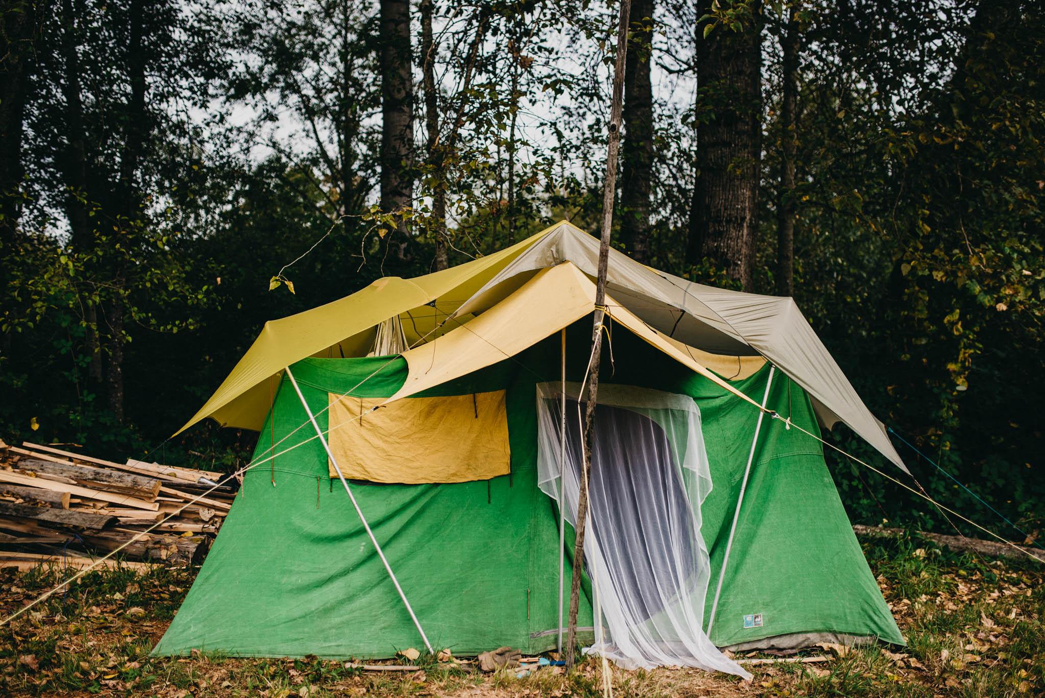 Canvas Tent on farm