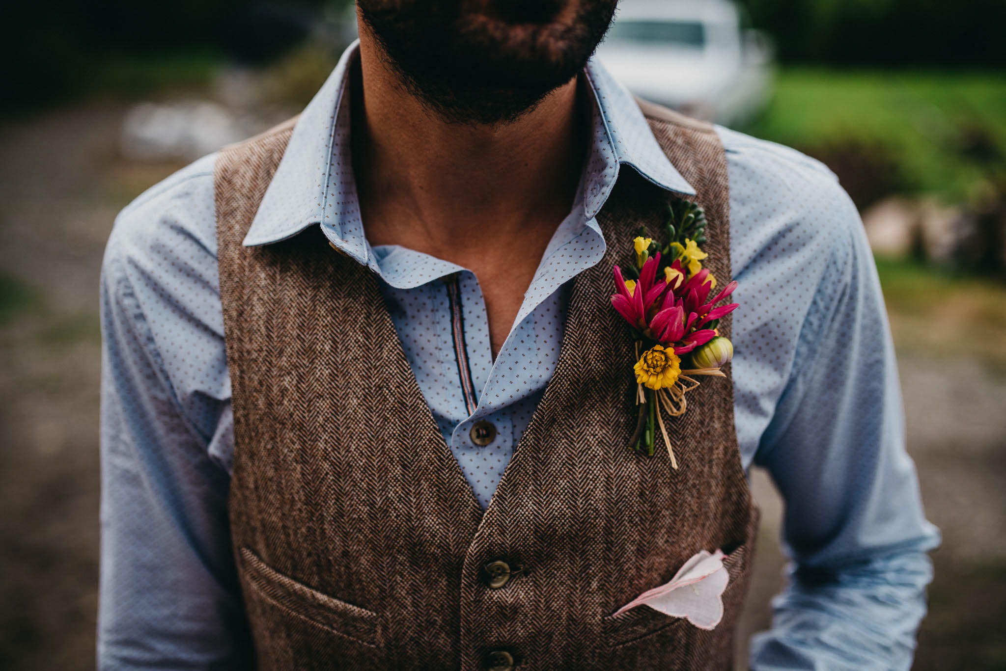 closeup of grooms boutonniere