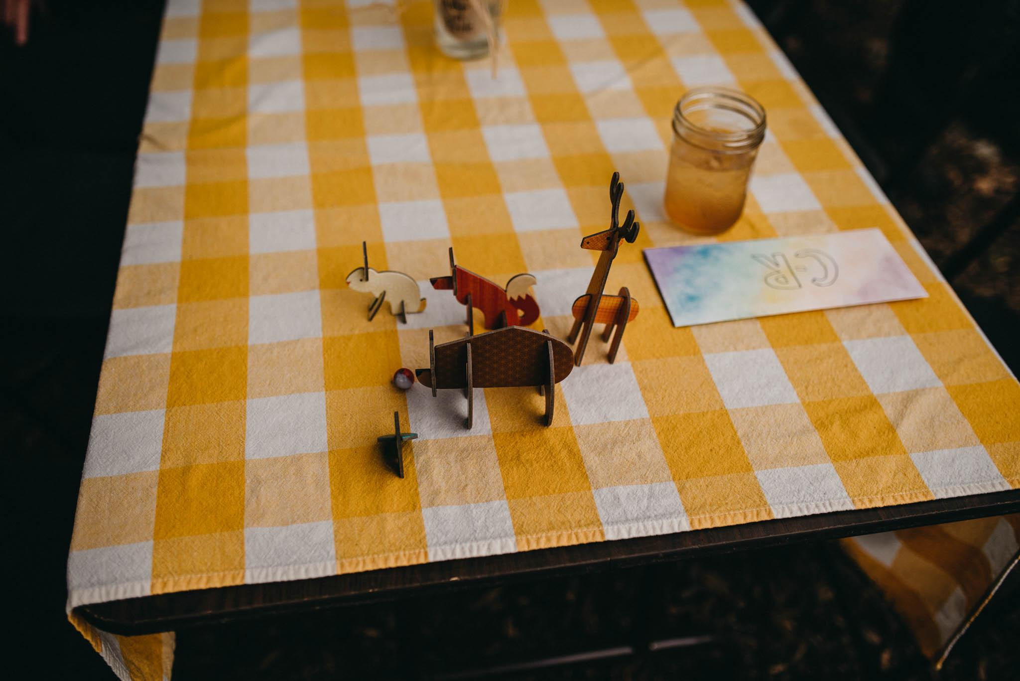 table decorations at farm wedding