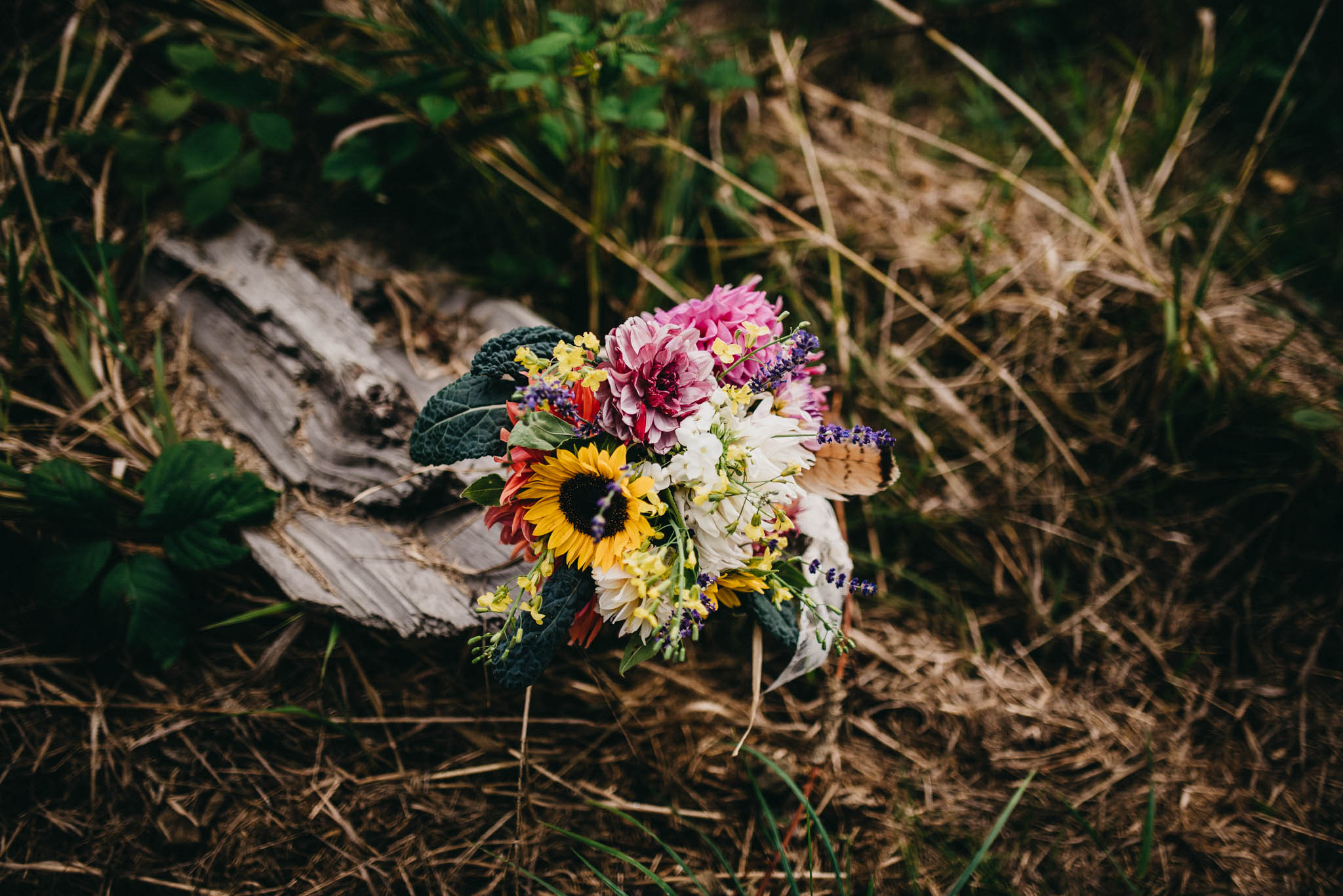 bridal bouquet at farm wedding