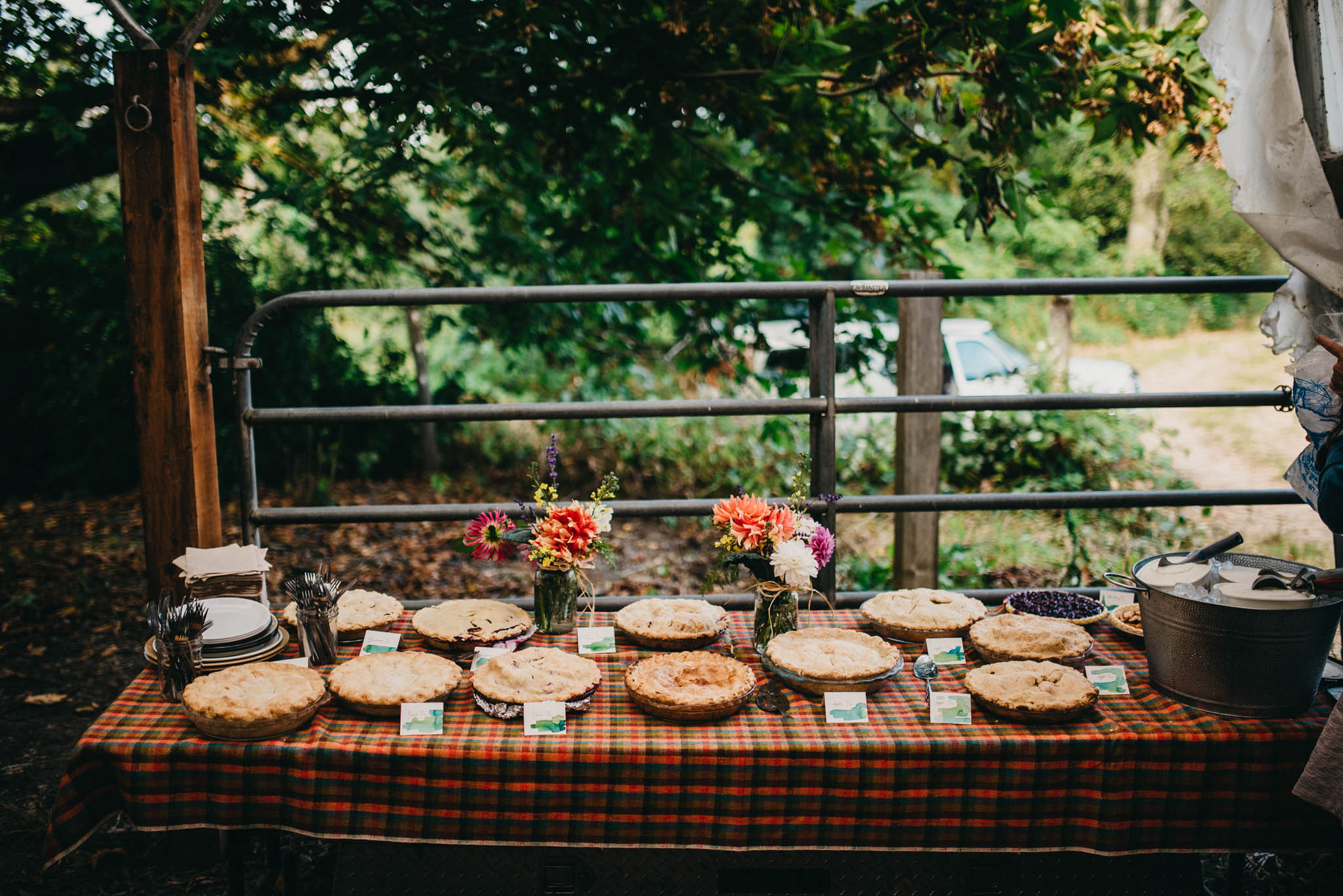 pie table at farm wedding