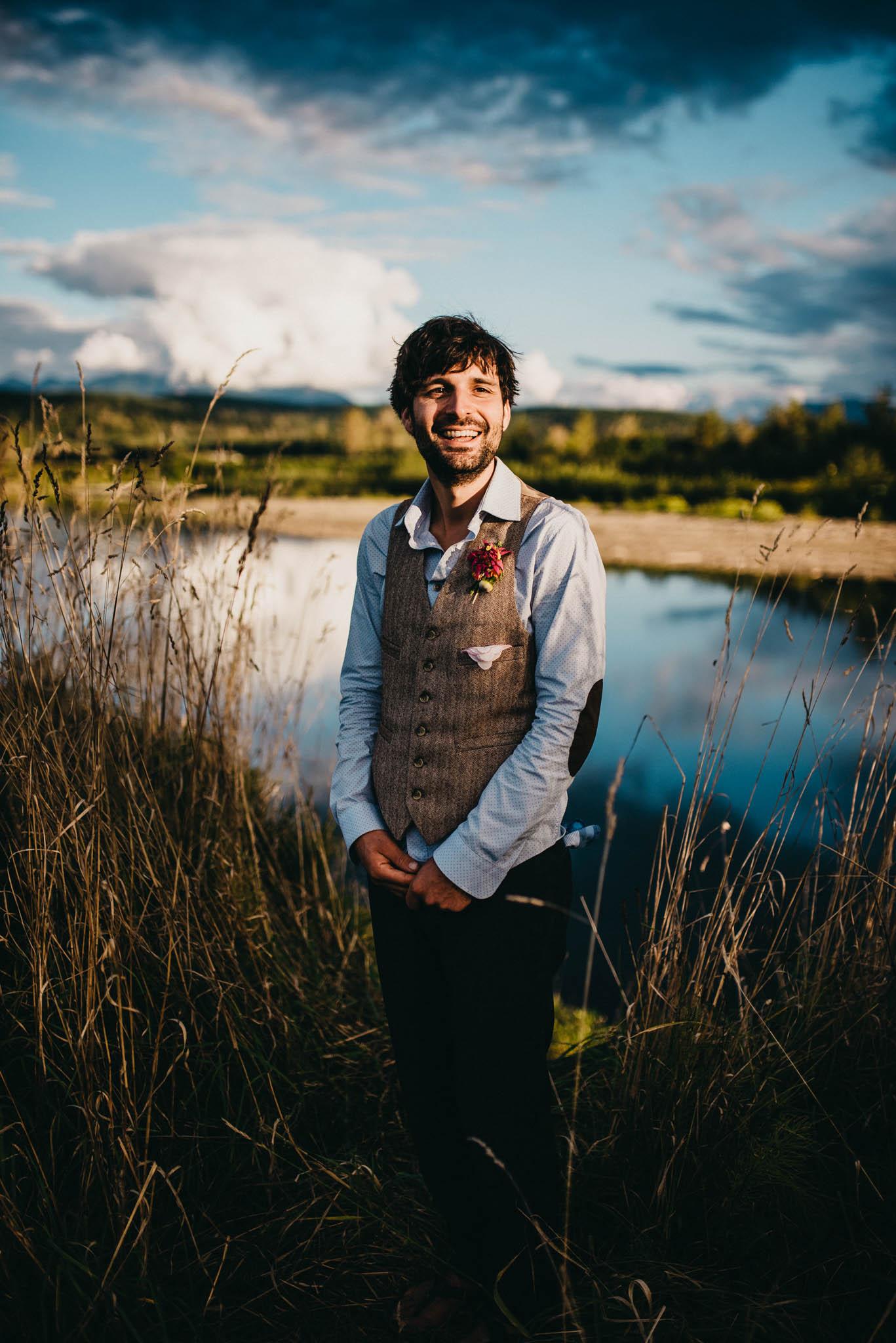 portrait of groom smiling