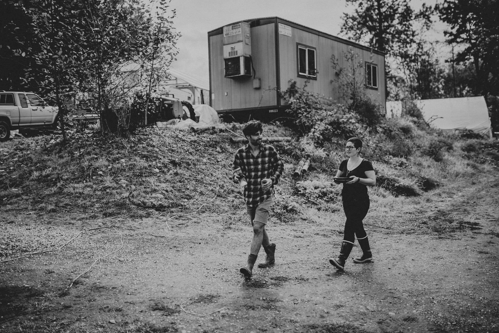 People walking on farm in western washington