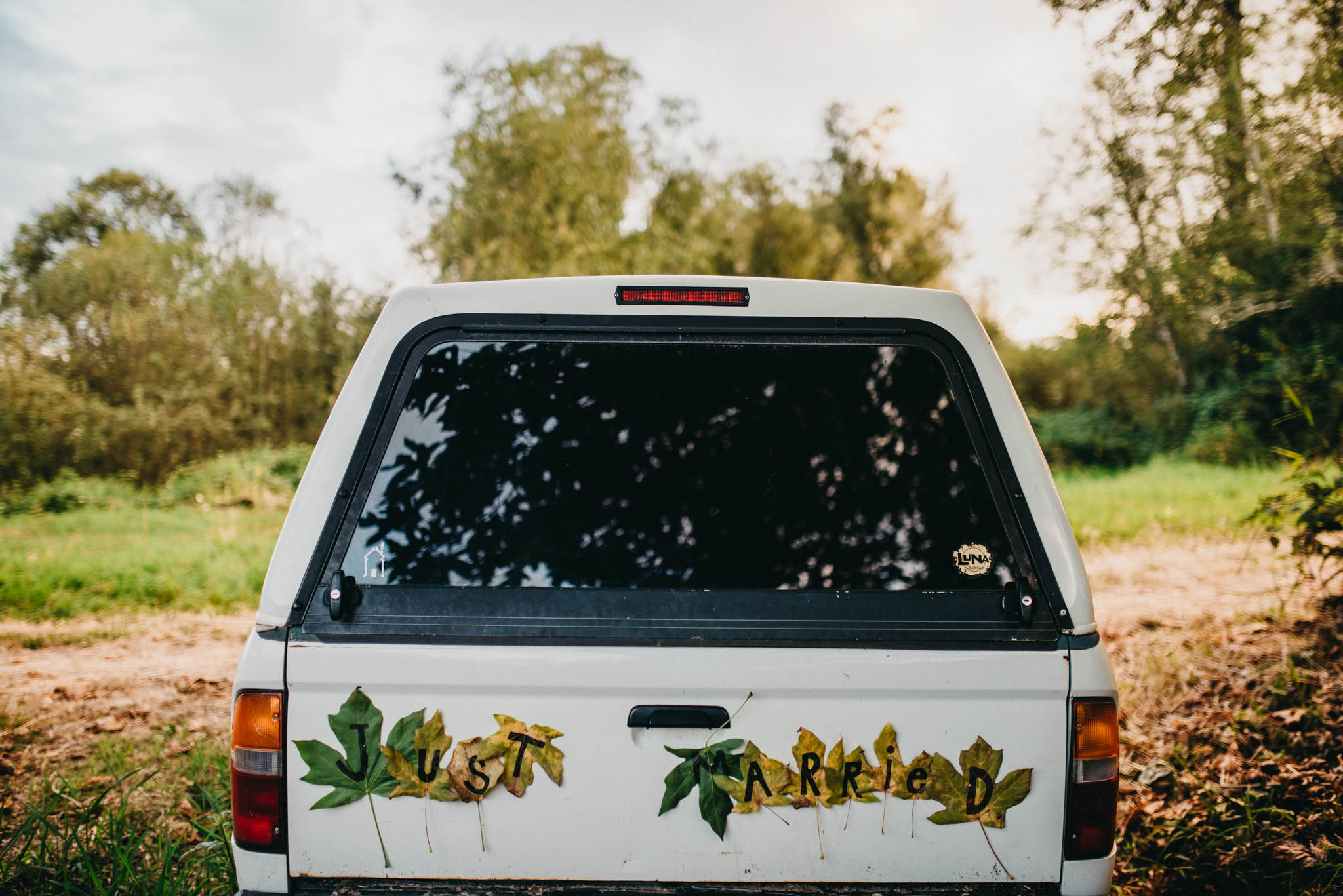 just married decoration on truck