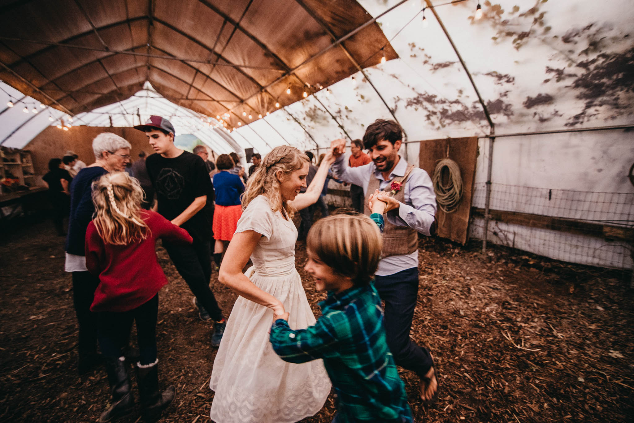 square dancing at farm wedding