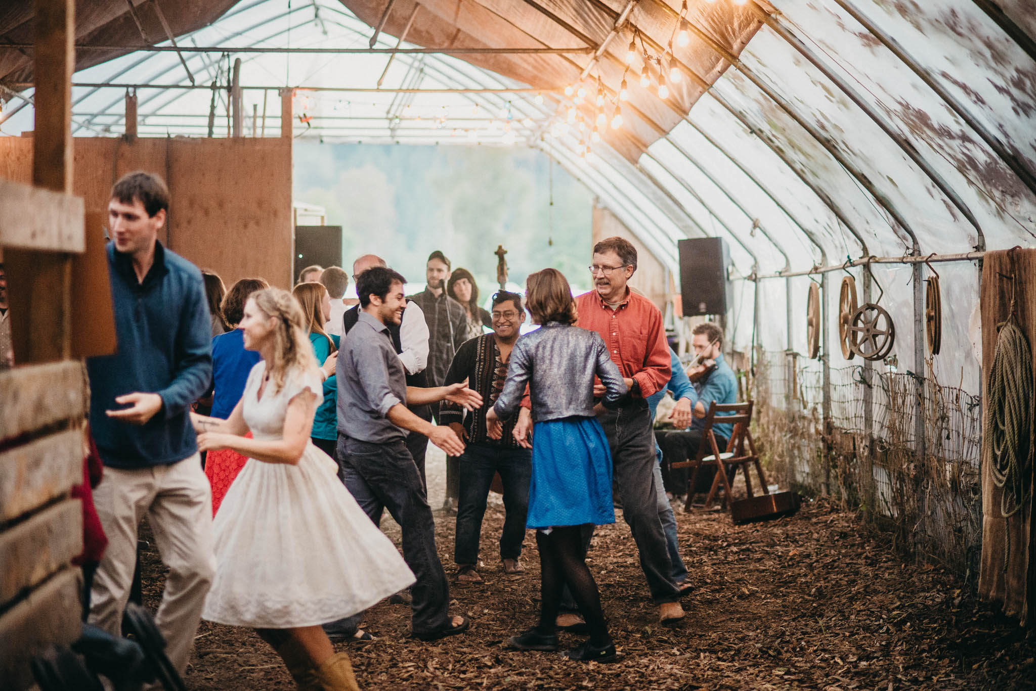 square dance at farm wedding